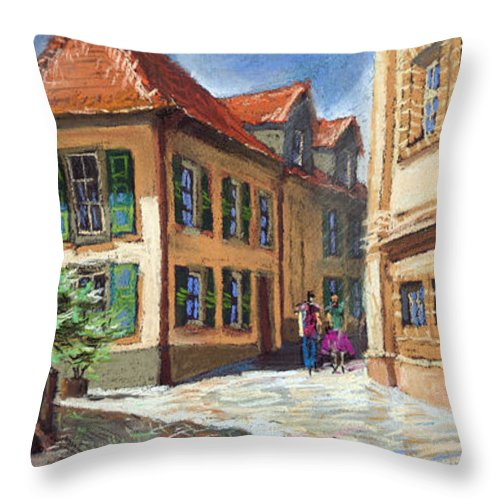 Pastel Throw Pillow featuring the painting Germany Baden-baden 04 by Yuriy Shevchuk