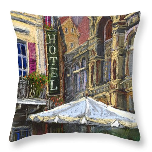 Pastel Throw Pillow featuring the painting Germany Baden-baden 07 by Yuriy Shevchuk