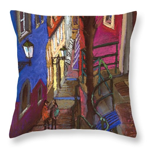 Pastel Throw Pillow featuring the painting Germany Baden-baden 08 by Yuriy Shevchuk