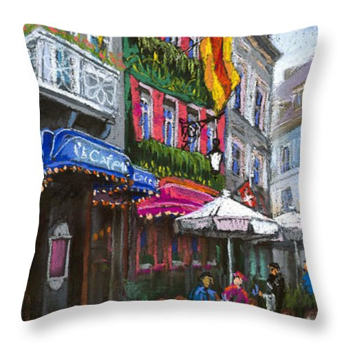 Pastel Throw Pillow featuring the painting Germany Baden-baden 10 by Yuriy Shevchuk