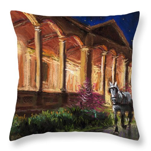 Pastel Throw Pillow featuring the painting Germany Baden-baden 13 by Yuriy Shevchuk