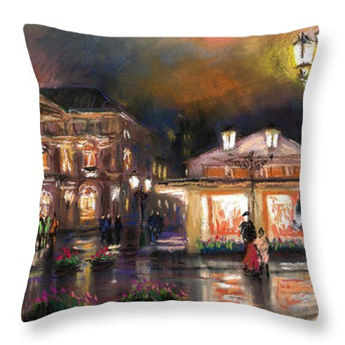 Pastel Throw Pillow featuring the painting Germany Baden-baden 14 by Yuriy Shevchuk