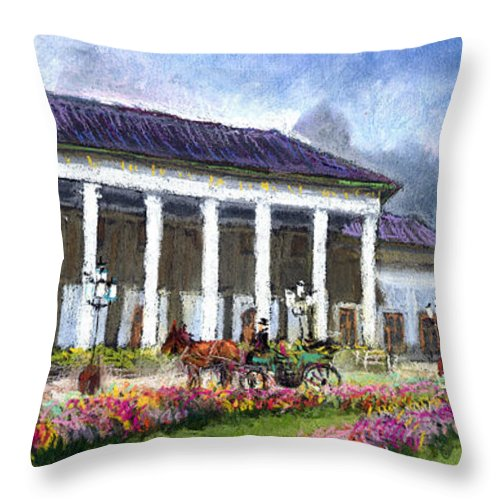 Pastel Throw Pillow featuring the painting Germany Baden-baden Kurhaus Kasino by Yuriy Shevchuk