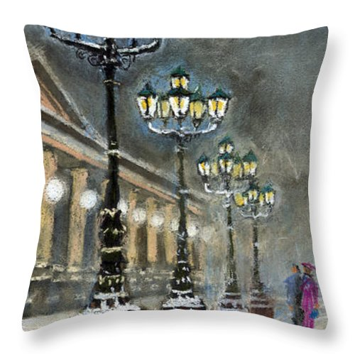 Pastel Throw Pillow featuring the painting Germany Baden-baden Kurhaus by Yuriy Shevchuk