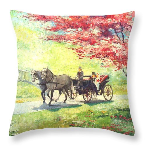 Allee Throw Pillow featuring the painting Germany Baden-baden Lichtentaler Allee Spring 2 by Yuriy Shevchuk