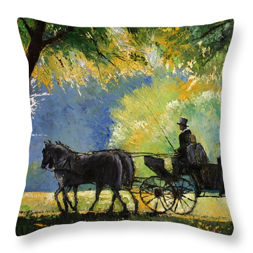 Oil Throw Pillow featuring the painting Germany Baden-baden Lichtentaler Allee Spring by Yuriy Shevchuk