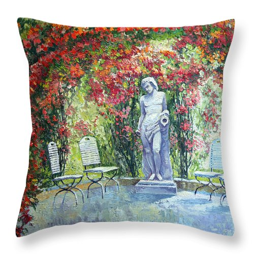 Oil Throw Pillow featuring the painting Germany Baden-baden Rosengarten 02 by Yuriy Shevchuk