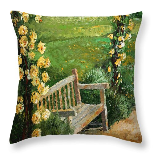 Oil Throw Pillow featuring the painting Germany Baden-baden Rosengarten by Yuriy Shevchuk