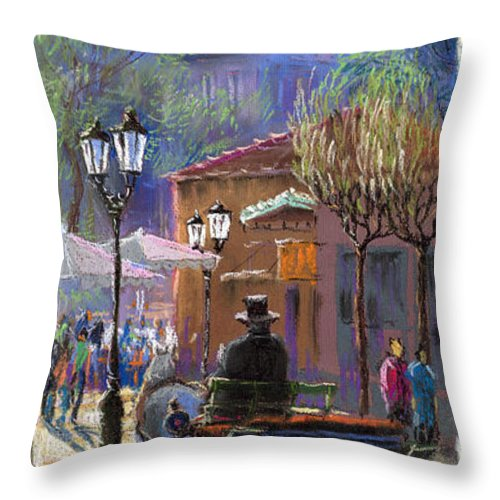 Pastel Throw Pillow featuring the painting Germany Baden-baden Spring Ray by Yuriy Shevchuk