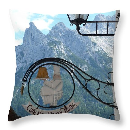 Bavarian Alps Throw Pillow featuring the photograph Germany - Cafe Sign by Carol Groenen