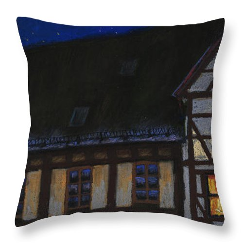 Pastel Throw Pillow featuring the painting Germany Ulm Fischer Viertel Moonroofs by Yuriy Shevchuk