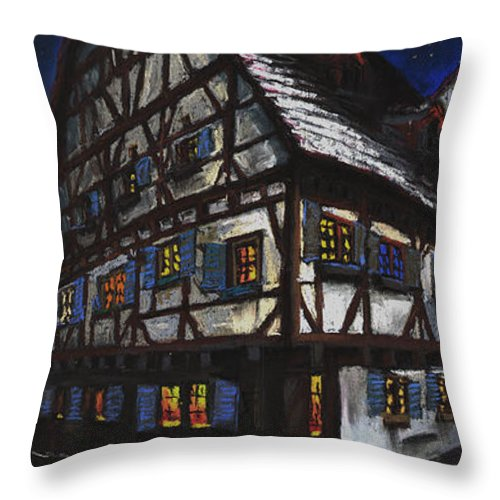 Pastel Throw Pillow featuring the painting Germany Ulm Fischer Viertel Schwor-haus by Yuriy Shevchuk