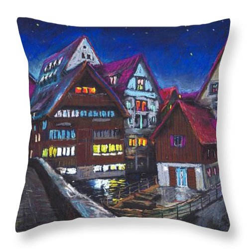 Pastel Throw Pillow featuring the painting Germany Ulm Fischer Viertel by Yuriy Shevchuk