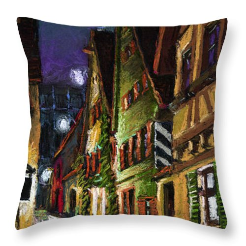 Pastel Throw Pillow featuring the painting Germany Ulm Old Street Night Moon by Yuriy Shevchuk