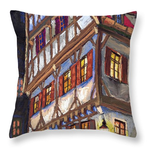 Pastel Throw Pillow featuring the painting Germany Ulm Old Street by Yuriy Shevchuk