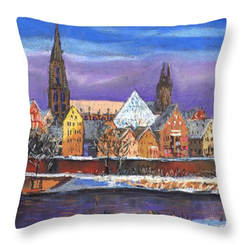 Pastel Throw Pillow featuring the painting Germany Ulm Panorama Winter by Yuriy Shevchuk