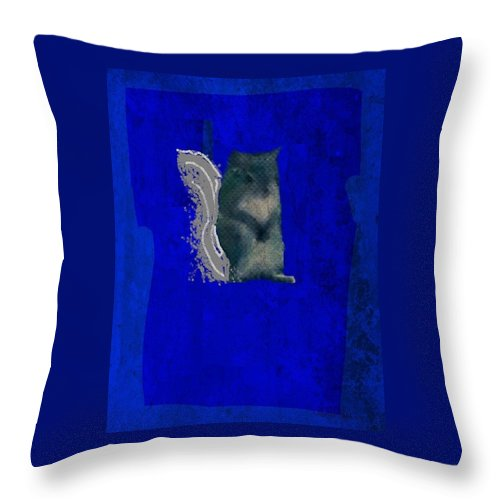 Cyan Throw Pillow featuring the photograph Gershwin The Cyan Squirrel by Kathy Barney