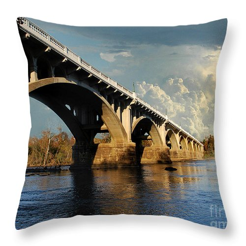 Scenic Tours Throw Pillow featuring the photograph Gervais Street Bridge, Columbia, Sc by Skip Willits