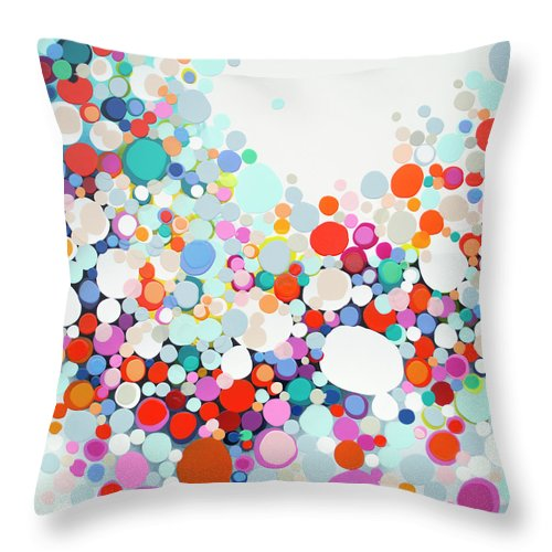 Abstract Throw Pillow featuring the painting Get Home Late by Claire Desjardins