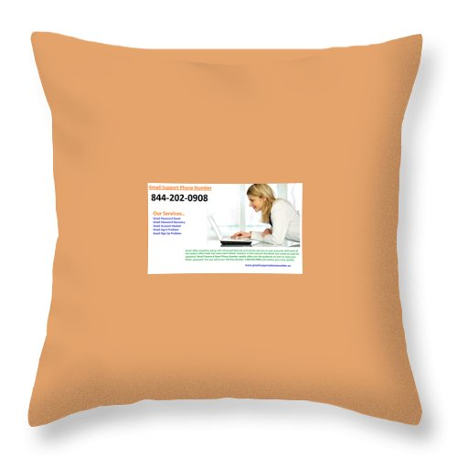 Gmail Technical Support Phone Number Throw Pillow featuring the photograph Get Solution For Gmail Support Service Number 1-844-202-0908 by Thomas