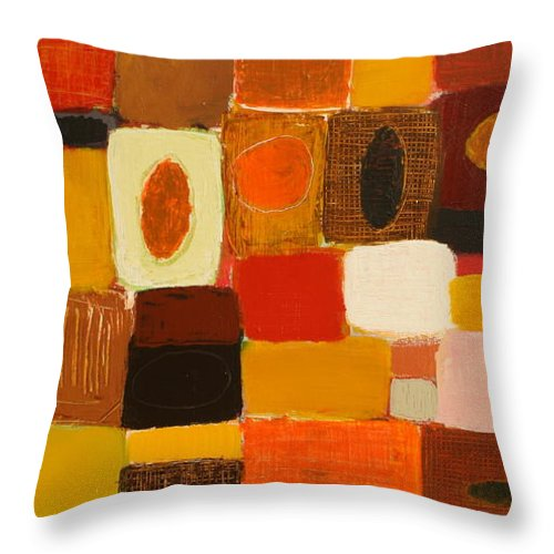 Abstract Throw Pillow featuring the painting Get Together by Habib Ayat
