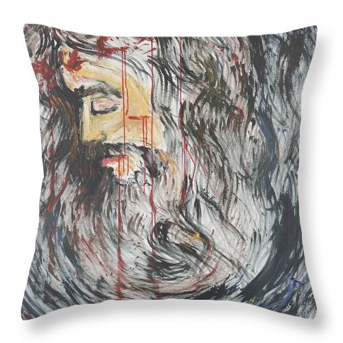 Jesus Throw Pillow featuring the painting Gethsemane To Golgotha IIi by Nadine Rippelmeyer