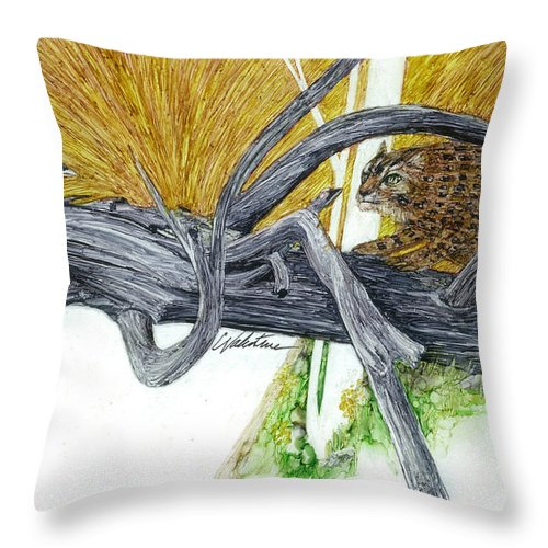 Prismacolor Permanent Pen Rendering Throw Pillow featuring the painting Getting Equainted by Charles Valentine