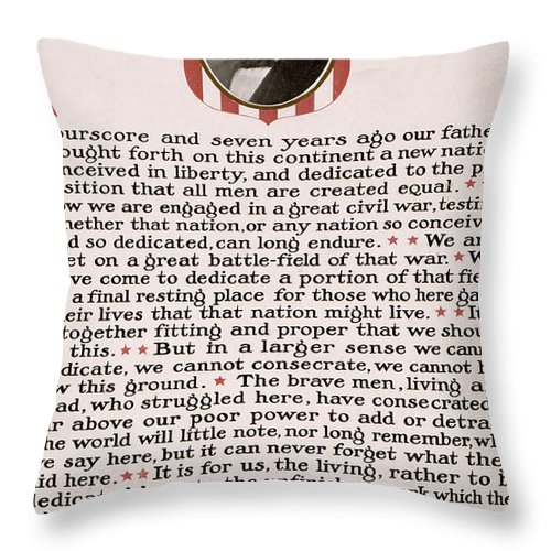gettysburg Address Throw Pillow featuring the photograph Gettysburg Address by International Images
