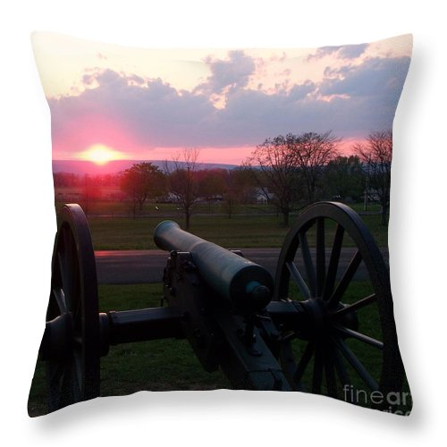 Gettysburg Cannon Throw Pillow featuring the painting Gettysburg Cannon by Eric Schiabor