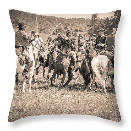 150th Throw Pillow featuring the photograph Gettysburg Cavalry Battle 7970s by Cynthia Staley
