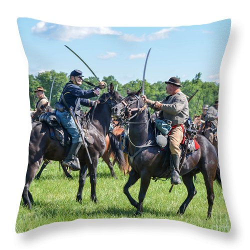 150th Throw Pillow featuring the photograph Gettysburg Cavalry Battle 7978c by Cynthia Staley