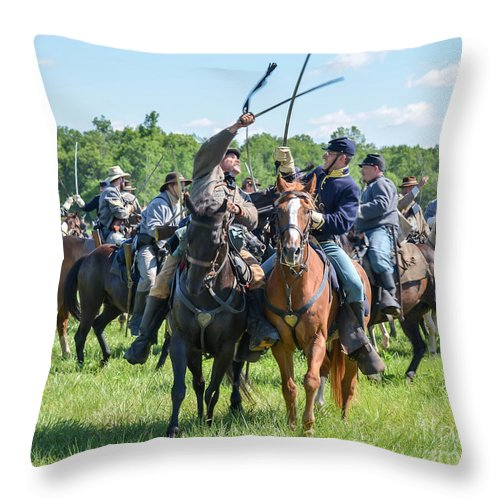 150th Throw Pillow featuring the photograph Gettysburg Cavalry Battle 7992c by Cynthia Staley