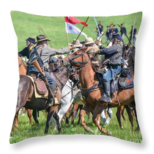 150th Throw Pillow featuring the photograph Gettysburg Cavalry Battle 8021c by Cynthia Staley