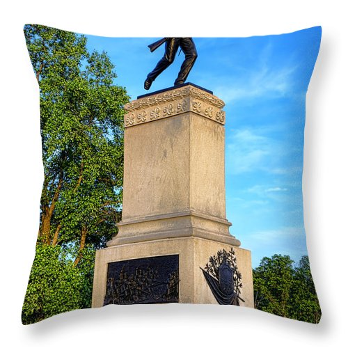 Gettysburg Throw Pillow featuring the photograph Gettysburg National Park 1st Minnesota Infantry Memorial by Olivier Le Queinec