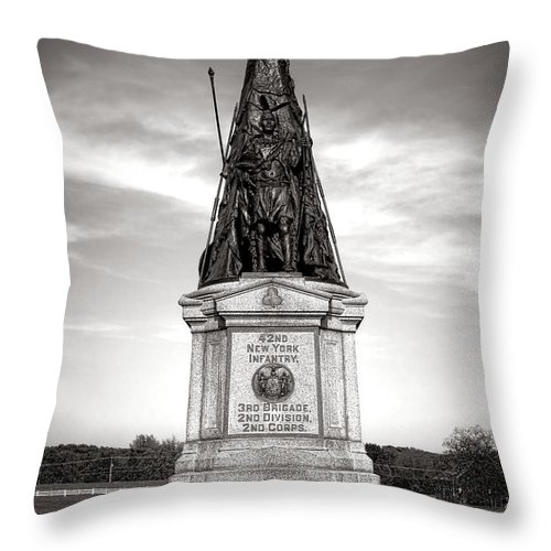 Gettysburg Throw Pillow featuring the photograph Gettysburg National Park 42nd New York Infantry Monument by Olivier Le Queinec