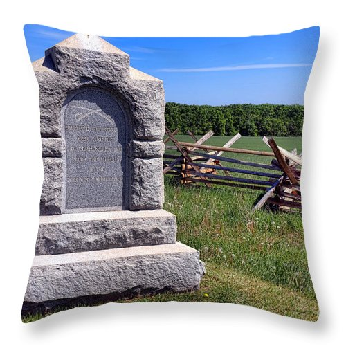 Gettysburg Throw Pillow featuring the photograph Gettysburg National Park Third West Virginia Cavalry Memorial by Olivier Le Queinec