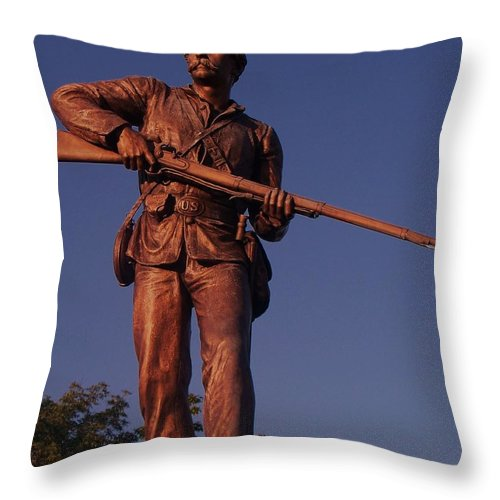 Gettysburg Throw Pillow featuring the photograph Gettysburg Statue by Eric Schiabor