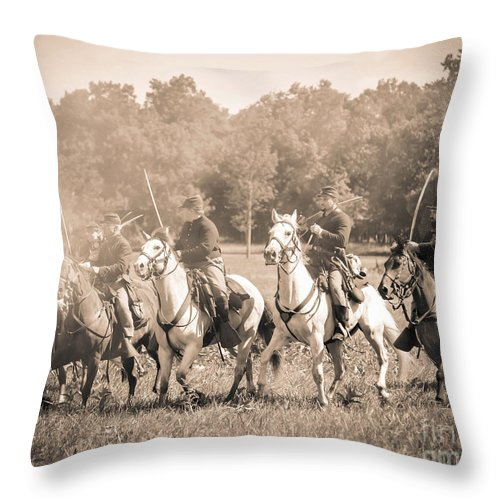150th Anniversary Throw Pillow featuring the photograph Gettysburg Union Cavalry 7901s by Cynthia Staley