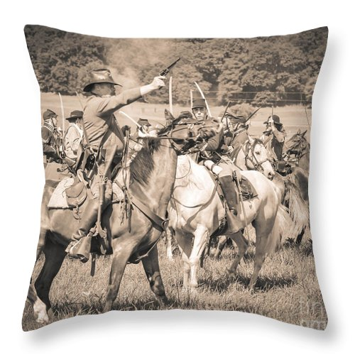 150th Anniversary Throw Pillow featuring the photograph Gettysburg Union Cavalry 7920s by Cynthia Staley