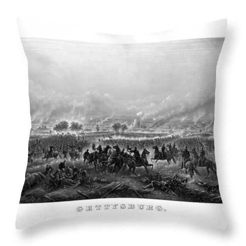Gettysburg Throw Pillow featuring the painting Gettysburg by War Is Hell Store