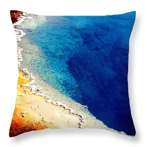 Geyser Throw Pillow featuring the photograph Geyser Basin by Nancy Mueller