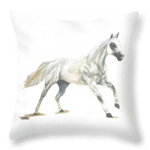 White Horse Throw Pillow featuring the painting Ghost Horse by Debra Sandstrom
