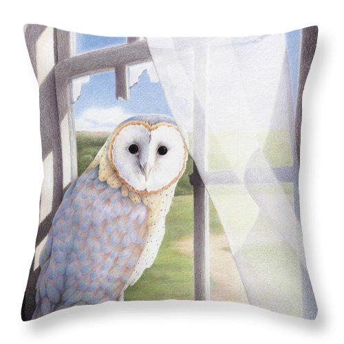 Owl Throw Pillow featuring the drawing Ghost In The Attic by Amy S Turner