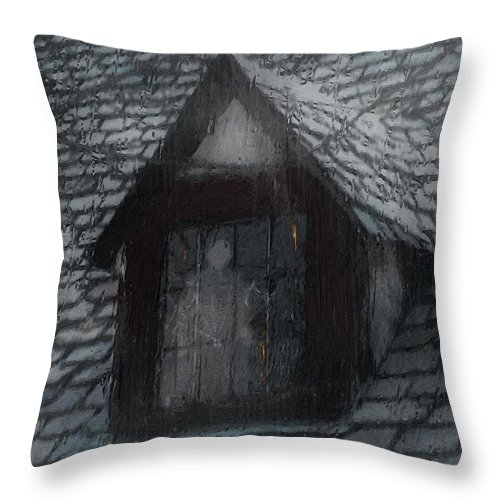 Ghost Throw Pillow featuring the painting Ghost Rain by RC DeWinter