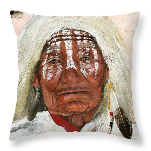 Southwest Art Throw Pillow featuring the painting Ghost Shaman by J W Baker
