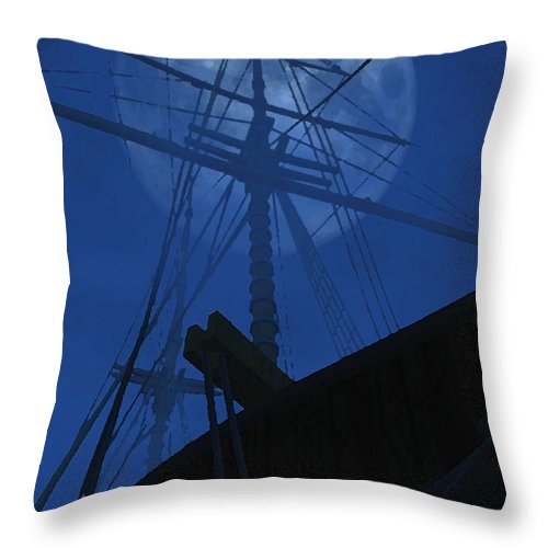Ghost Ship Throw Pillow featuring the digital art Ghost Ship by Richard Rizzo