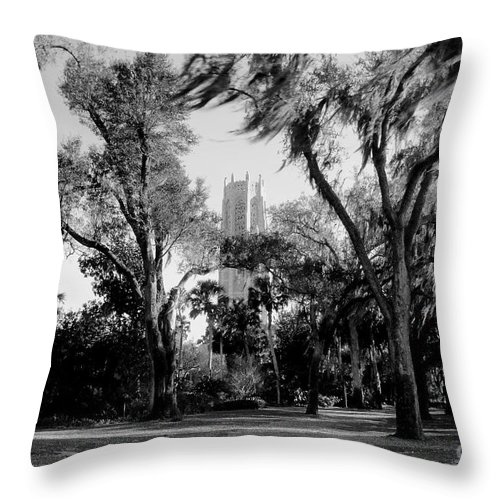 Bok Tower Throw Pillow featuring the photograph Ghostly Bok Tower by David Lee Thompson