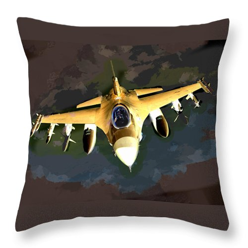 Plane Throw Pillow featuring the painting Ghostly Fighter Jet In The Sky Above The Earth by Elaine Plesser