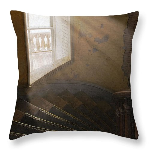 Architecture Throw Pillow featuring the photograph Ghostly Light by Sharon Foster