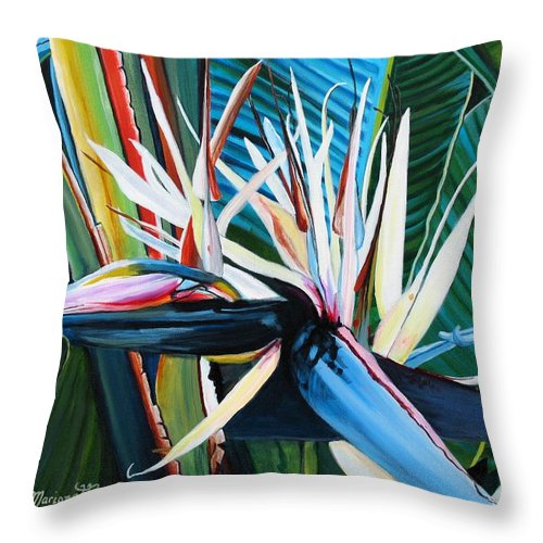 Bird Throw Pillow featuring the painting Giant Bird Of Paradise by Marionette Taboniar